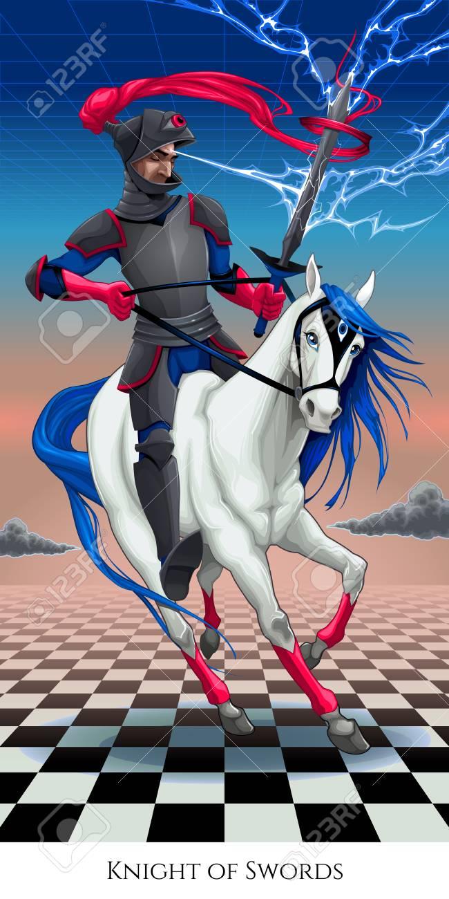 Knight of swords, tarot card  Vector illustration