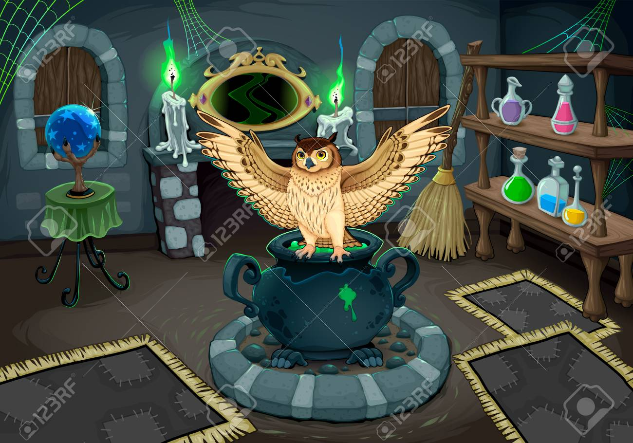 the witch room with owl vector cartoon illustration for halloween and games stock vector