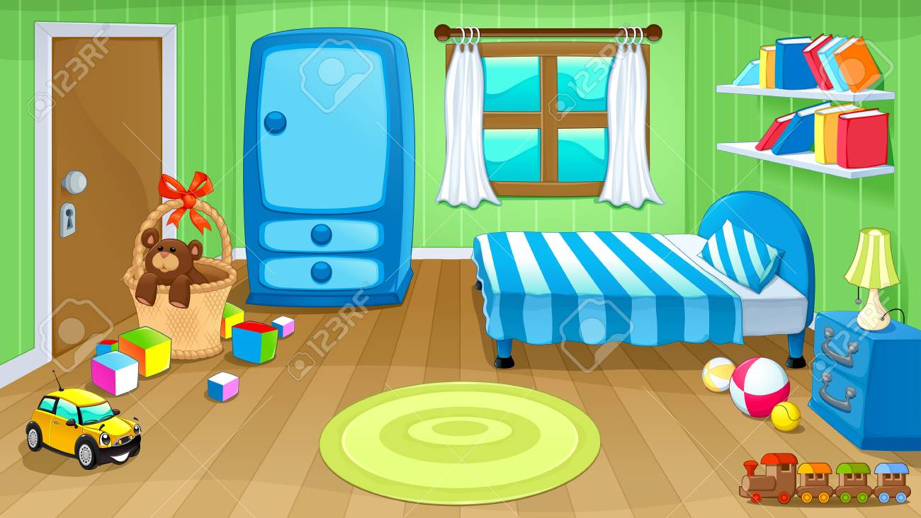 Funny Bedroom With Toys. Vector Cartoon Illustration Royalty Free ...