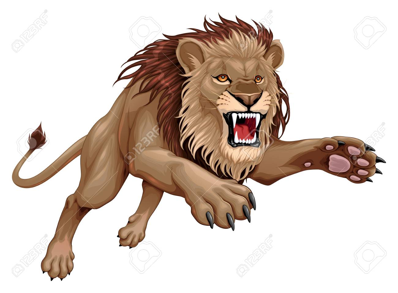 Angry lion is jumping. Vector cartoon illustration - 119613867