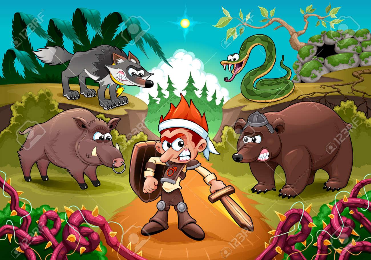 Hero fighting against his enemies. Cartoon vector illustration for children. - 153274648