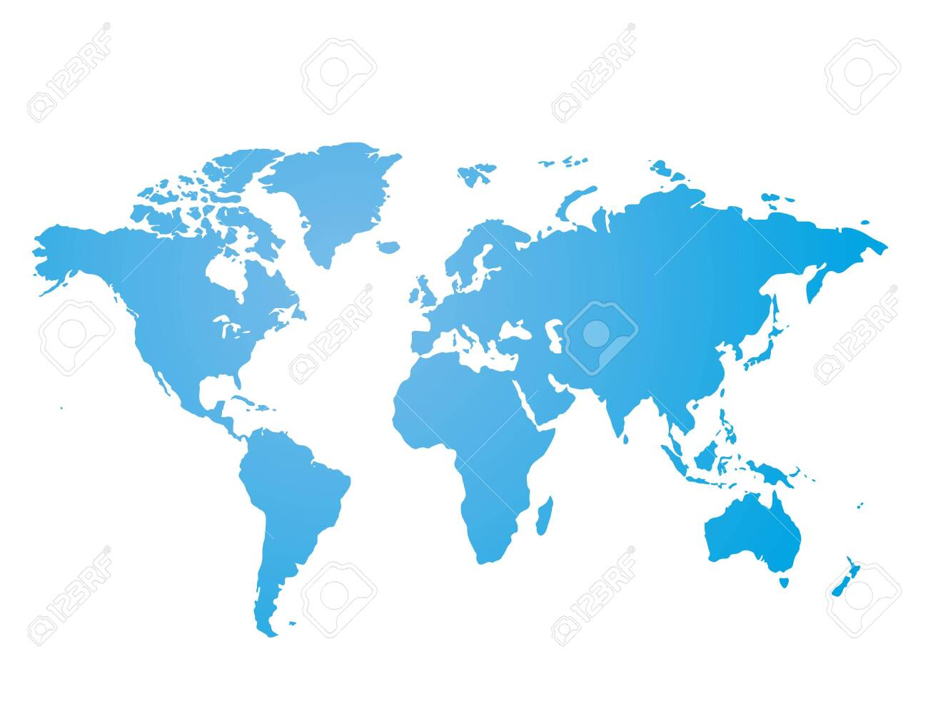 Blue similar world map blank for infographic isolated on white background. Vector illustration - 145232962