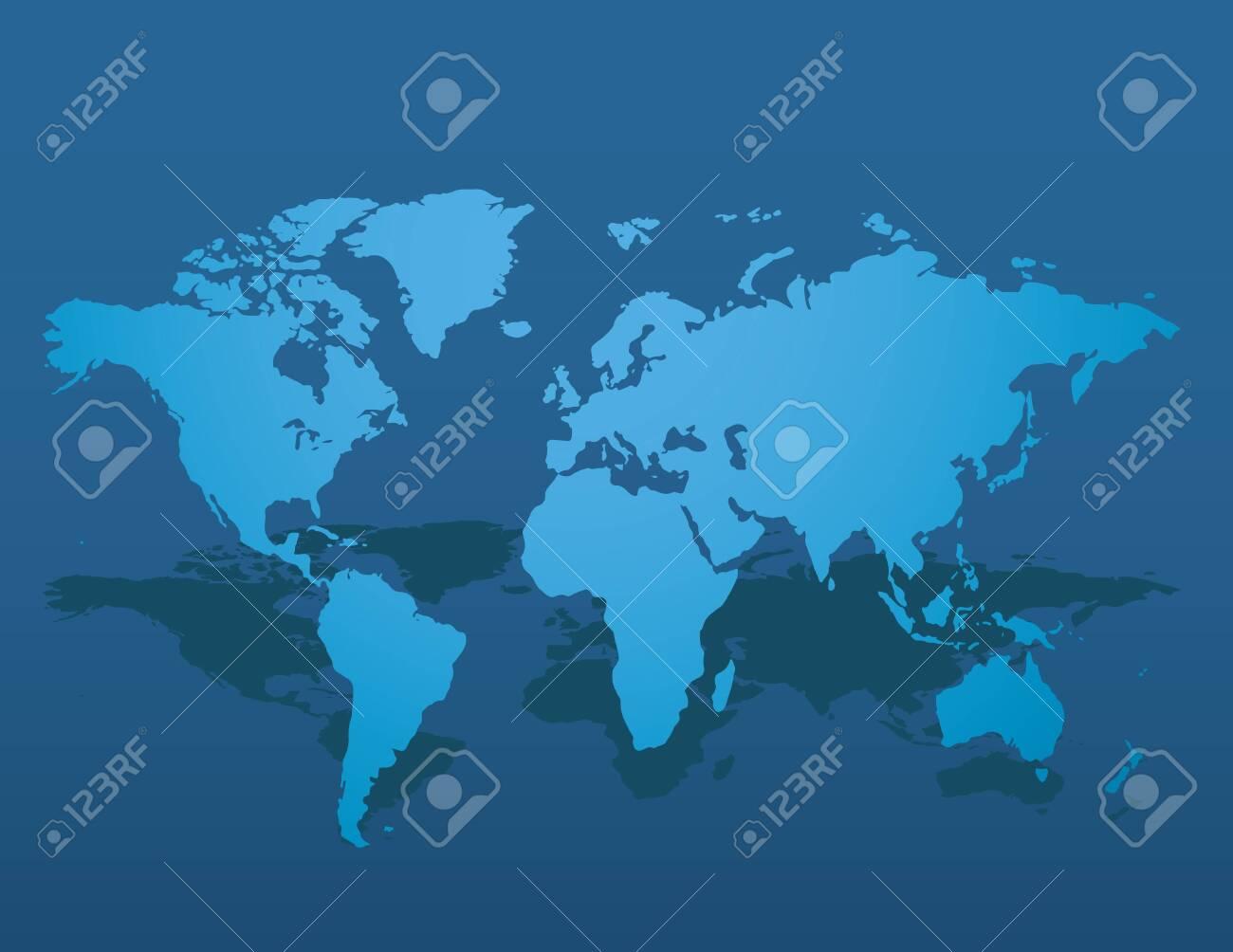 Blue similar world map blank on dark background for infographic. Vector illustration - 145232970