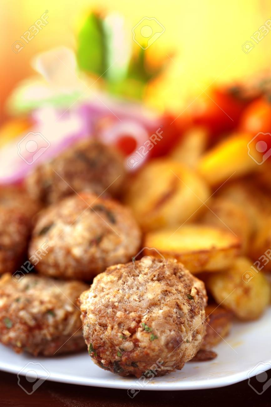 meatballs served with potatoes Stock Photo - 20177587