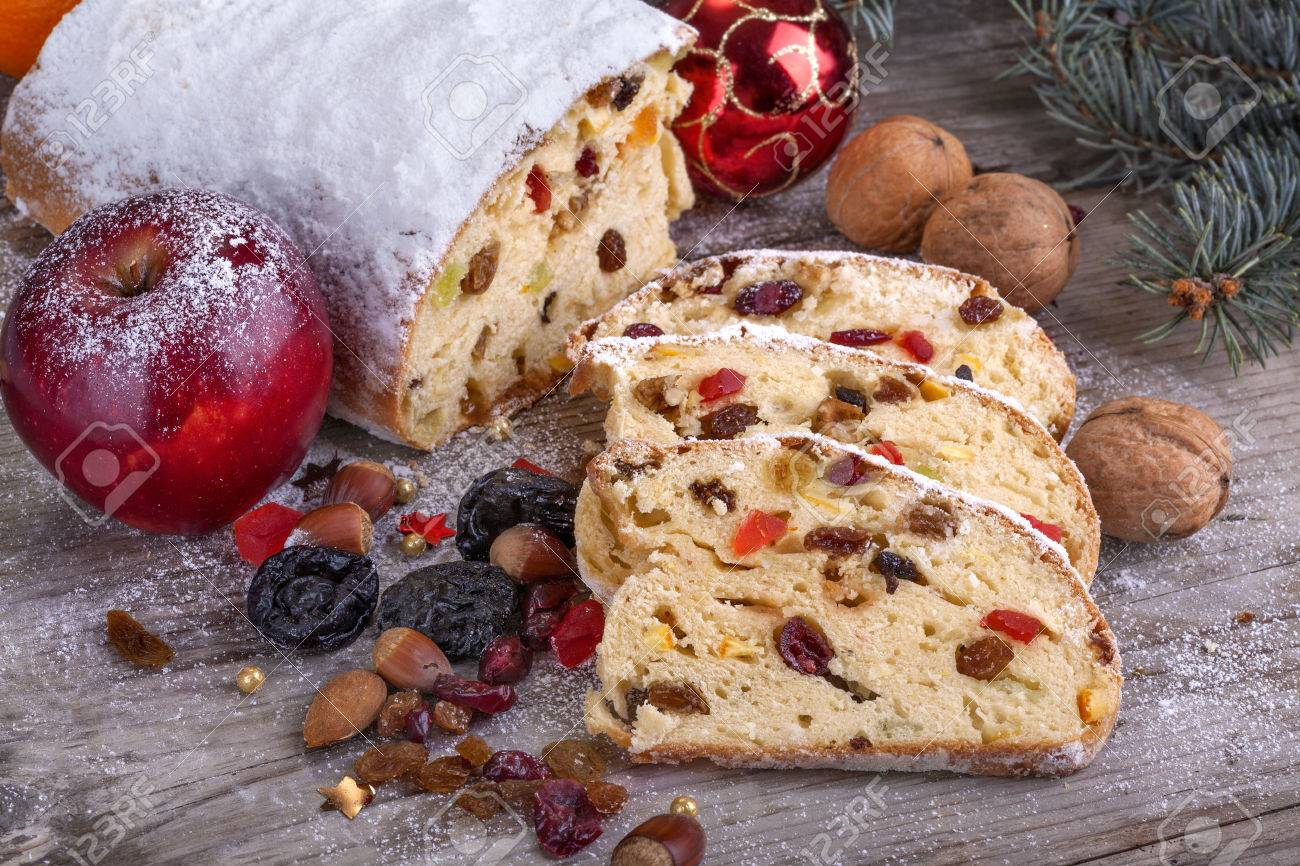 Traditional Homemade Christmas Sweet Bread With Dried Fruit Stock ...
