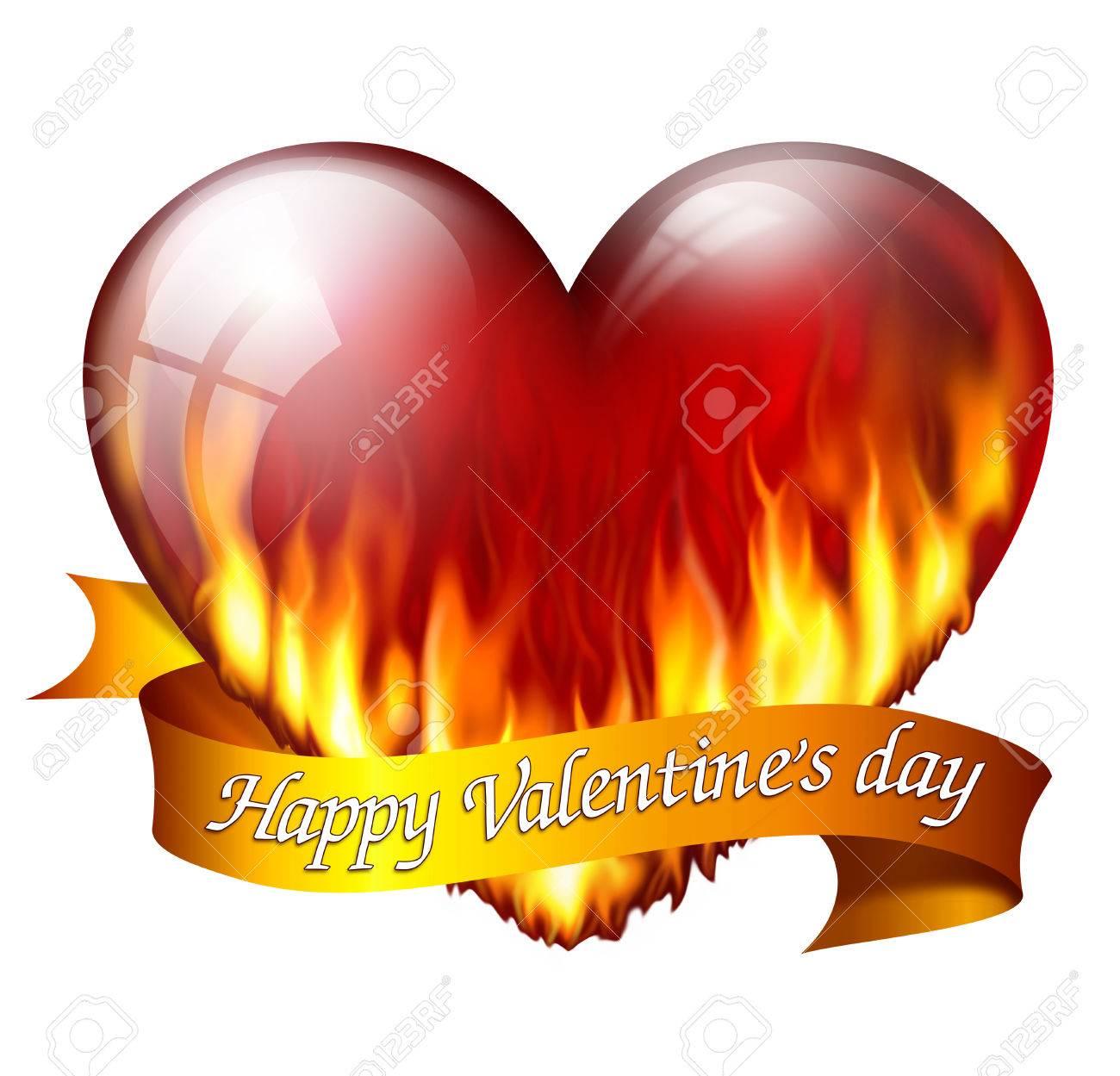 Großes Rotes Herz Auf Feuer, Mit Schärpe Und Nachricht Zum Valentinstag  Standard Bild