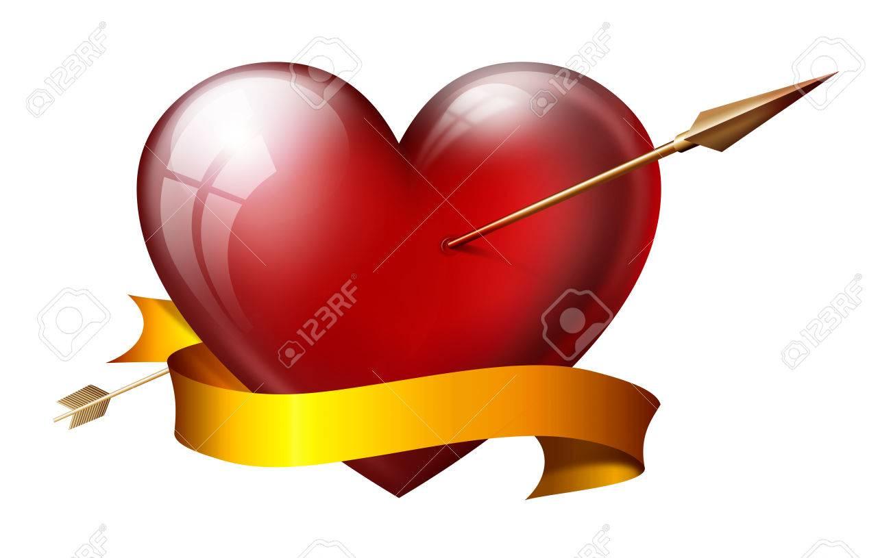 Gran Corazón Con La Flecha, Con El Marco, Aislado En Blanco Fotos ...