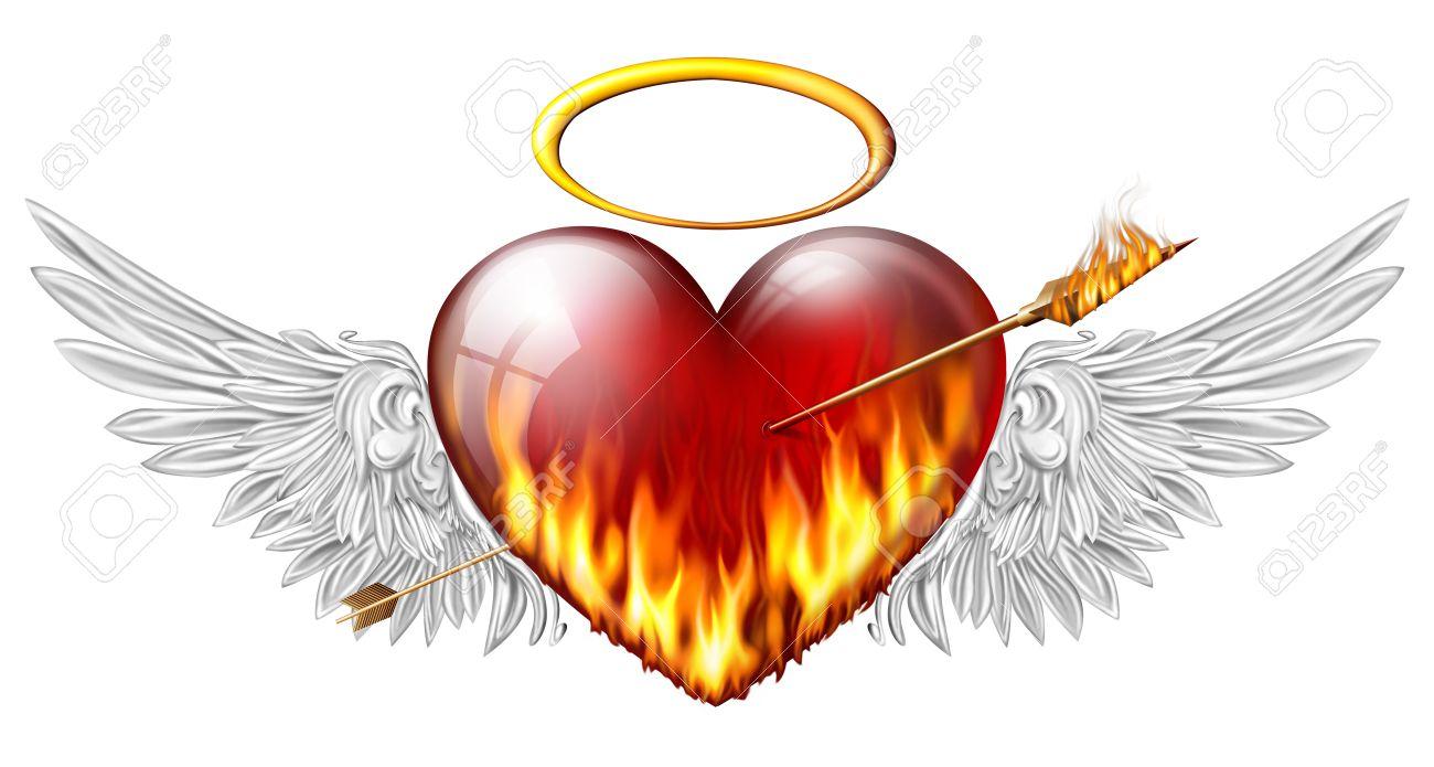 Ardiente Corazón Con Alas De ángel Atravesados Por Una Flecha De