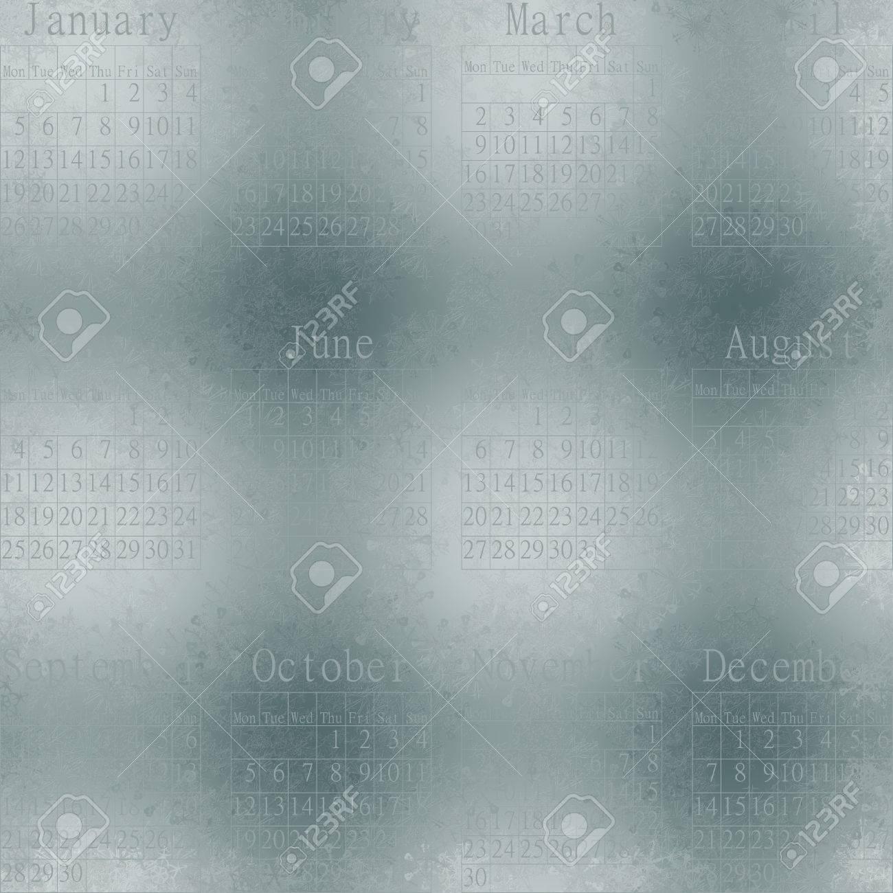 いくつかの窓に雪の結晶についての雪のシームレスな抽象壁紙 英語でカレンダー 15 年 の写真素材 画像素材 Image