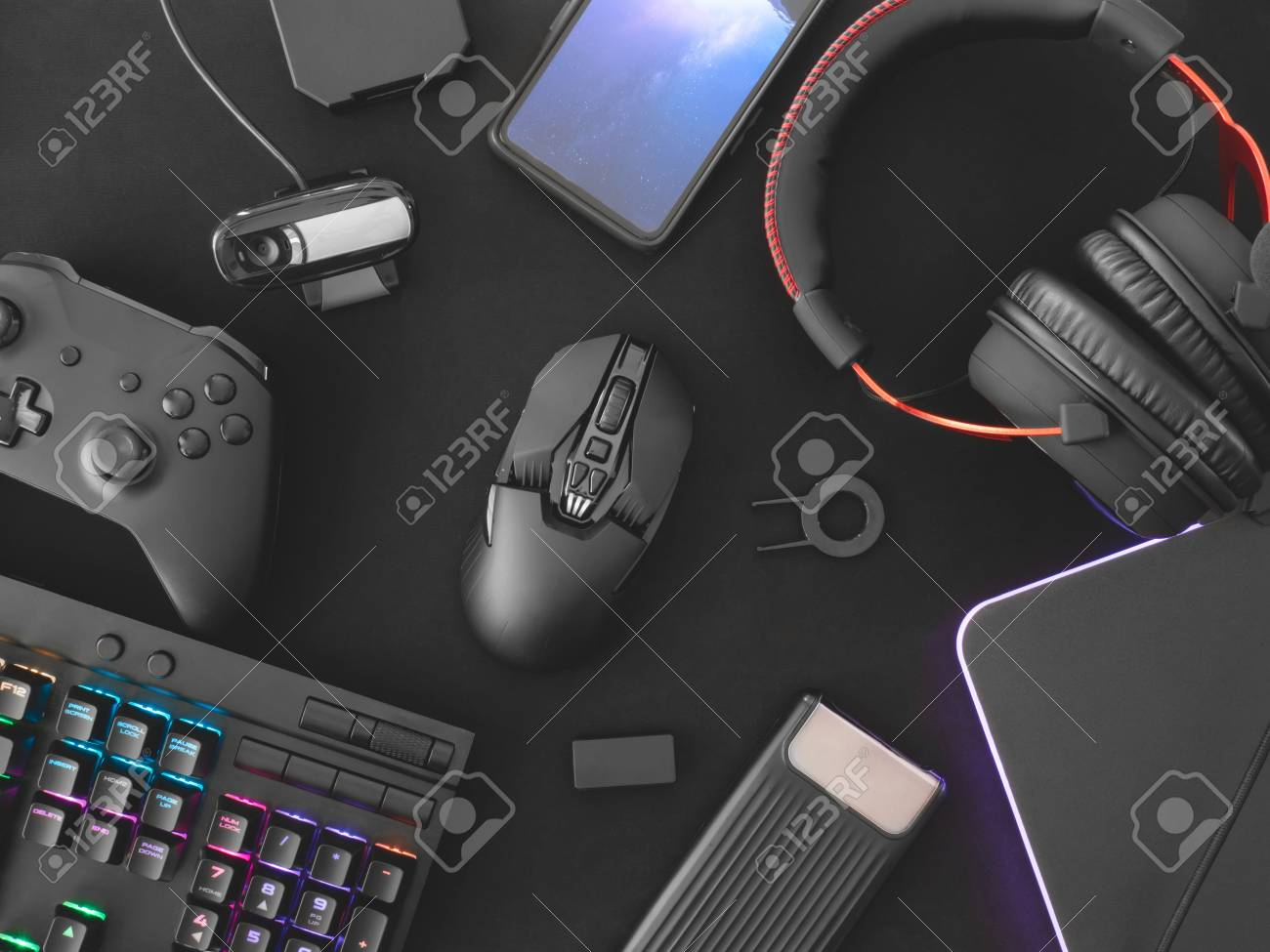 streaming games concept, top view a gaming gear, mouse, Webcams,