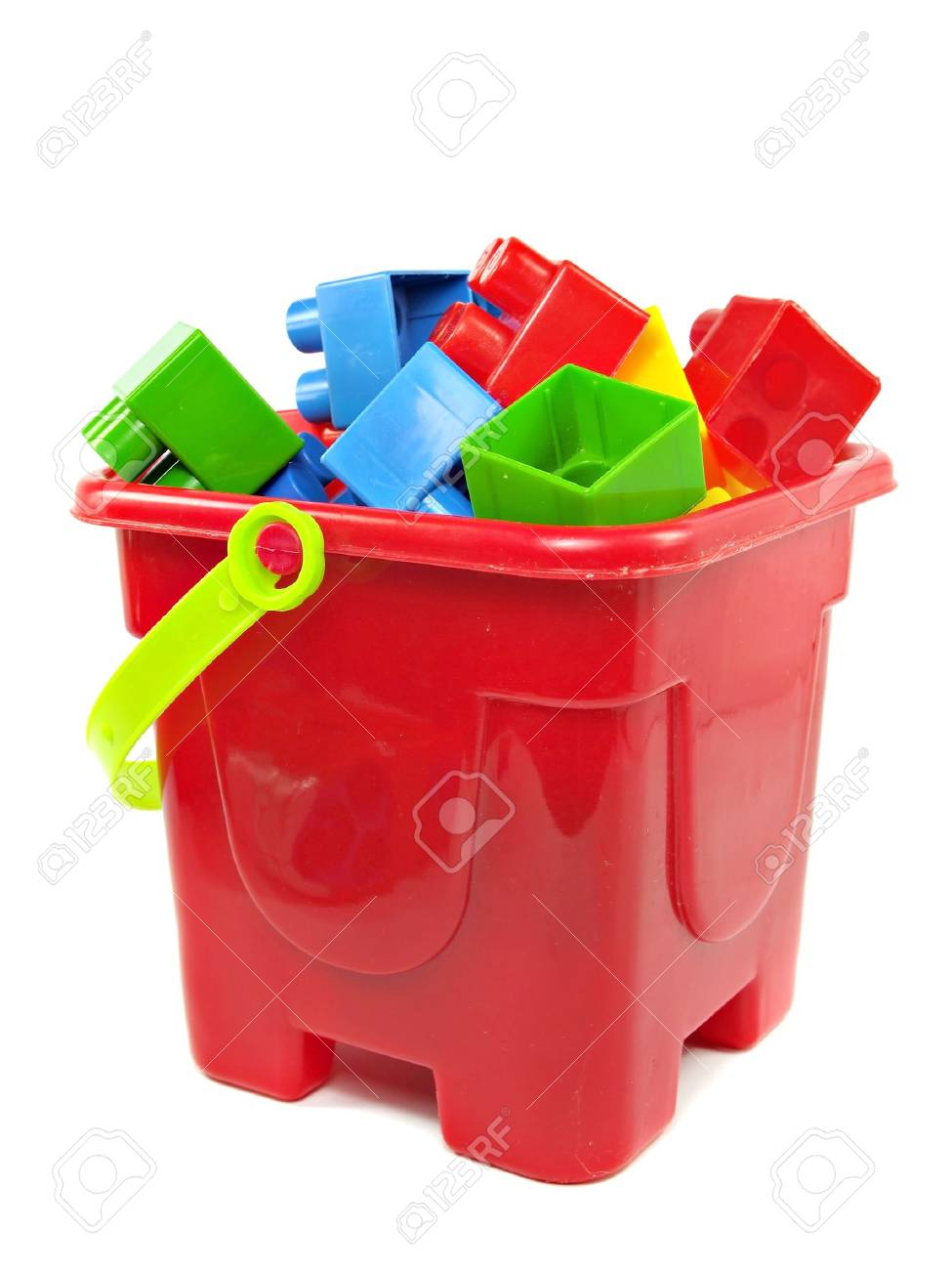Uncategorized Toy Pail plastic building blocks in red toy pail on a white background stock photo 15554482