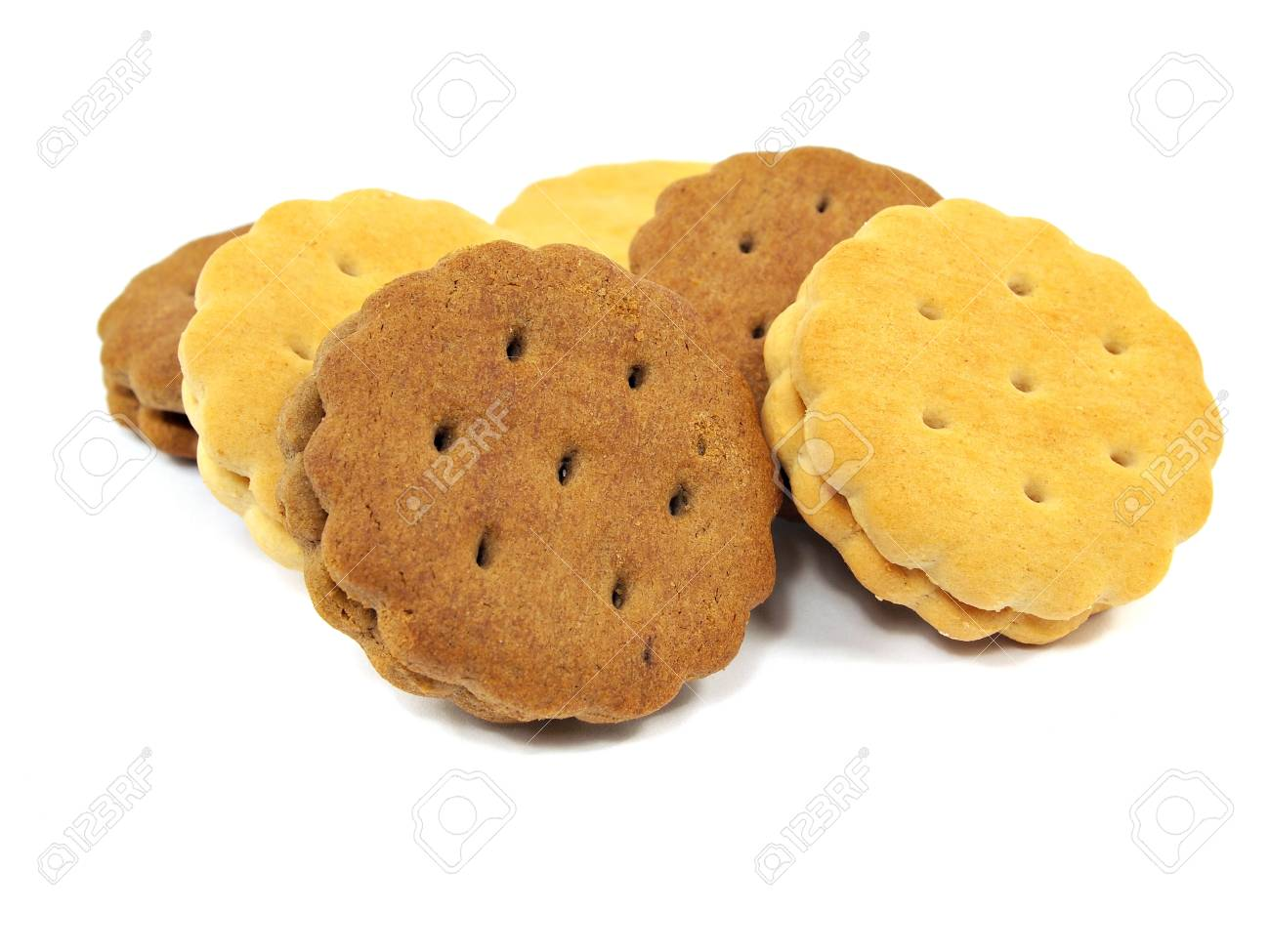 sandwich biscuits with cream and chocolate fillings on a white background Stock Photo - 16173795