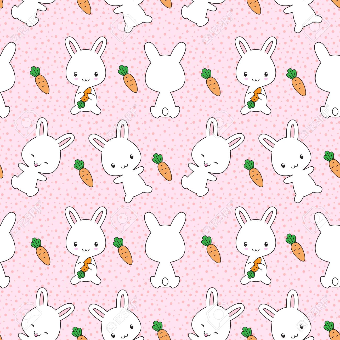 Cute Kawaii Bunnies With Carrots Seamless Pattern Royalty Free