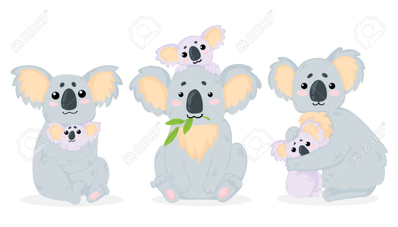 Vector hand drawn collection of illustrations with cute koala bear mother hugs her baby in cartoons style. Isolated on white background. Mothers Day Sett of arts with funny koala mother hugs her baby in childish style. - 139645118