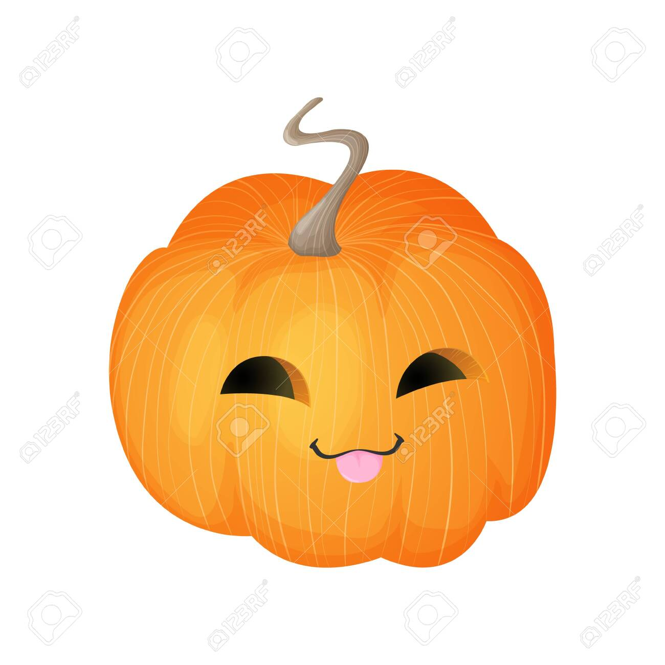 Cute Pumpkin With Happy Smiling Face Halloween Kawaii Mascot Royalty Free Cliparts Vectors And Stock Illustration Image 154390689