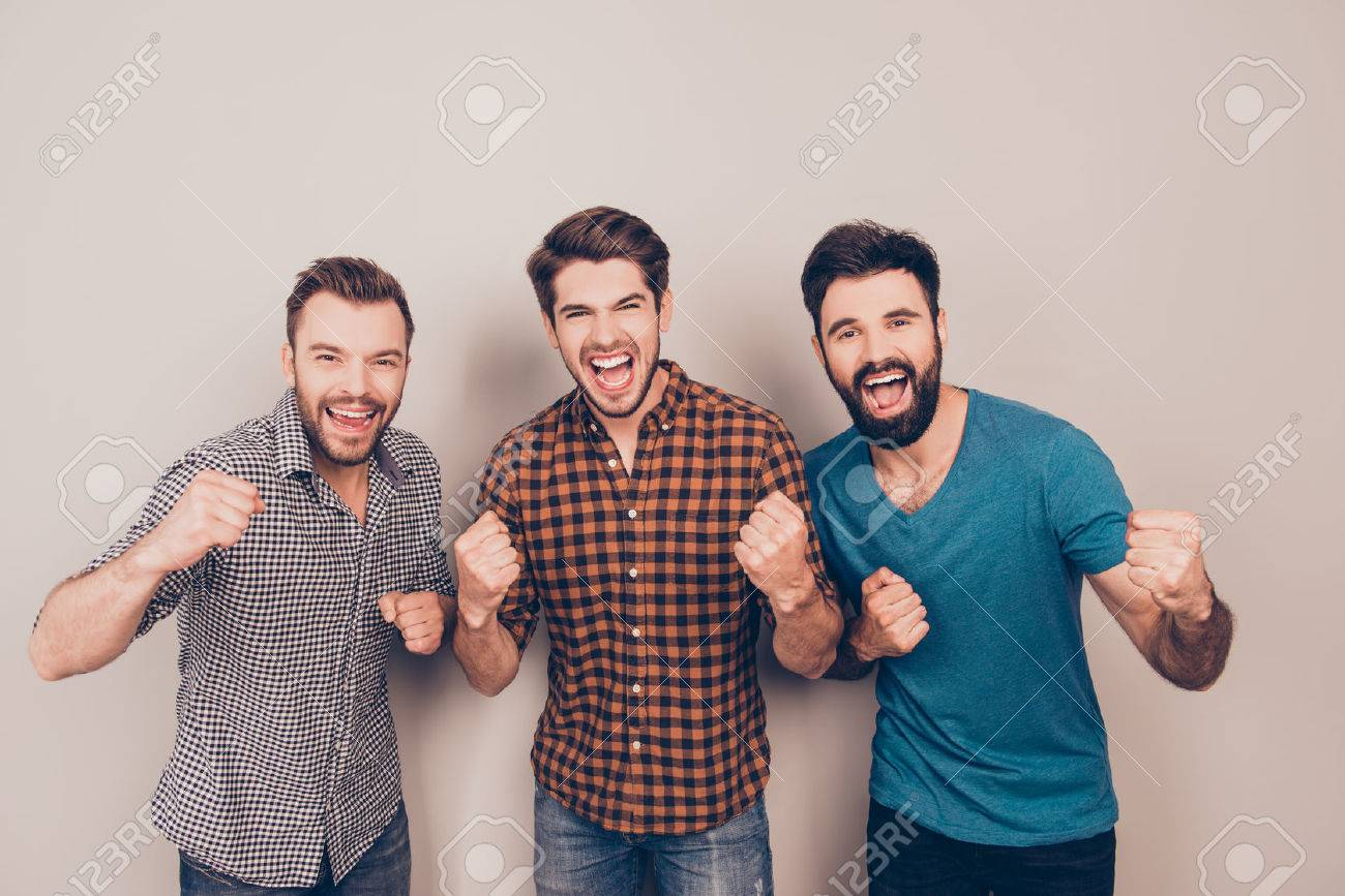 YEAH! three handsome screaming men showing their strong hands - 59056381