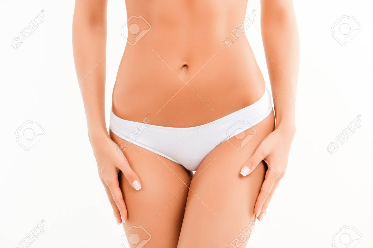 Close Up Photo Of Slim Womans Body With White Panties Stock Photo 64202515