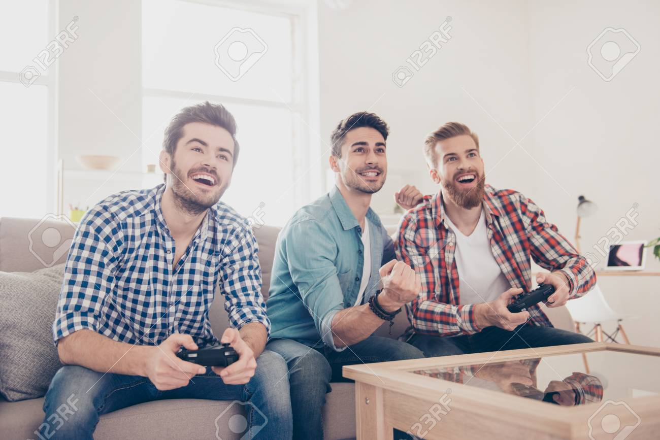 Who Will Win Competition Of Guys Playing Car Race Excited Friends