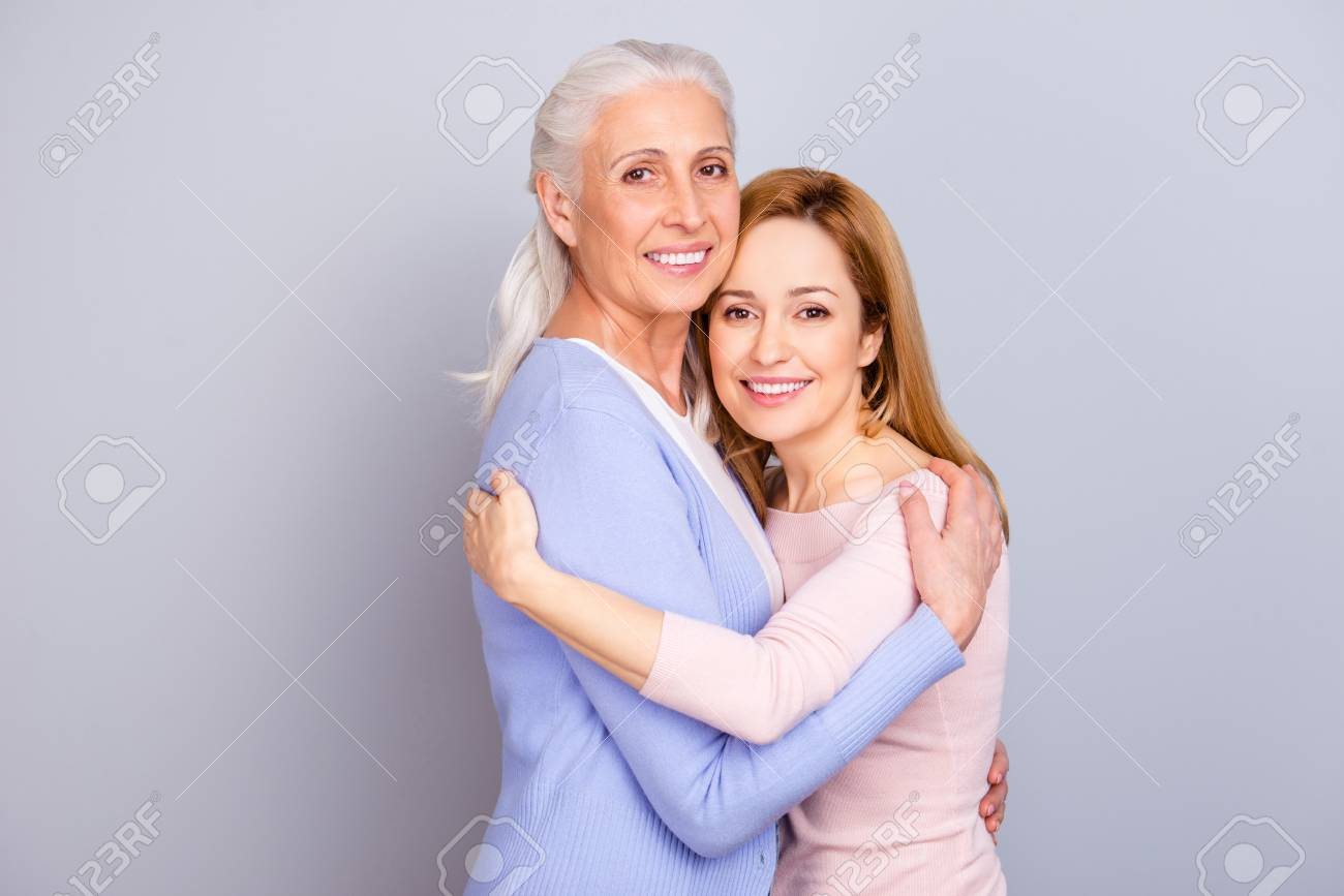 Grandparent maternity friendship touching relatives concept. Portrait of  cheerful cute lovely sweet beautiful mommy and
