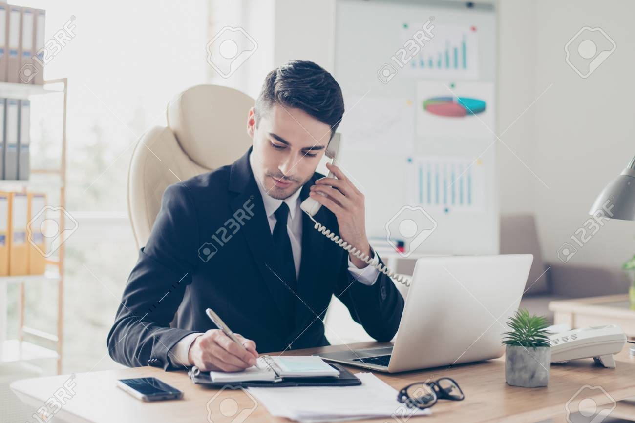 Portrait of focused confident concentrated smart intelligent clever busy expert specialist assistant giving recommendations advice to clients - 97560444