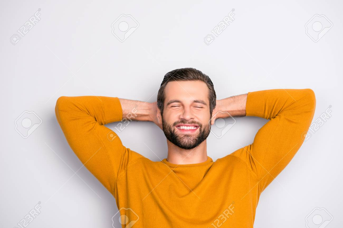 Close up portrait of handsome bearded cheerful joyful excited amazed guy with closed eyes toothy beaming smile waiting for the weekend isolated on gray background - 105730178