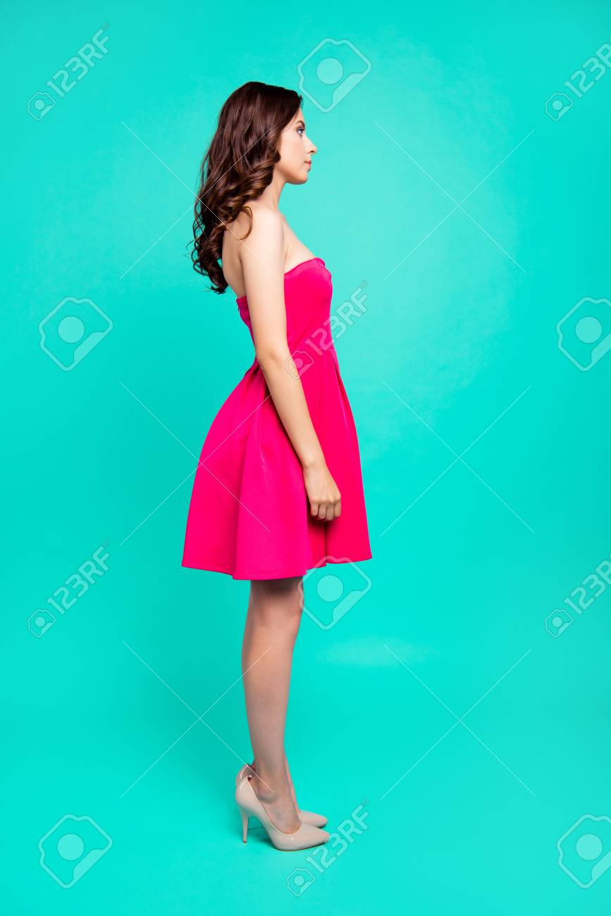 Portrait of charming, glad, lovely, brunet coquette lady in pink - 112448696