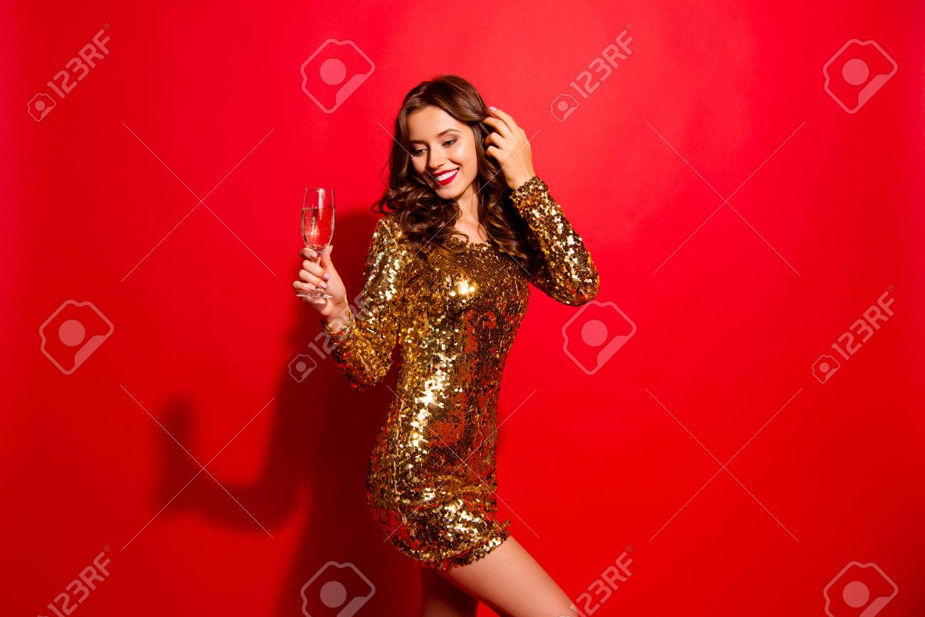Nightlife, dream, dreamy concept. Shy, coquette lady with style - 112452559