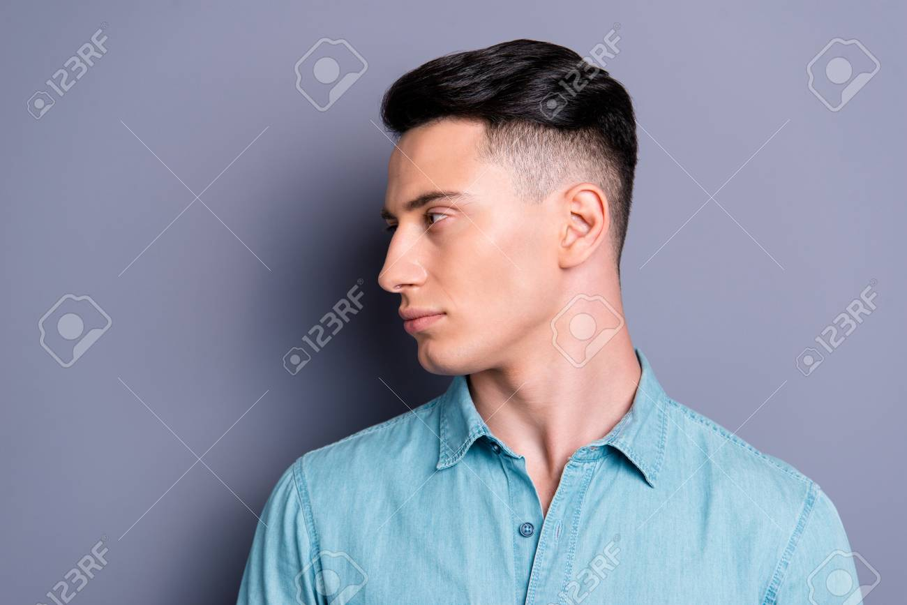Profile Side View Of Nice Cute Attractive Handsome Cool Confiden Stock Photo Picture And Royalty Free Image Image 112328317