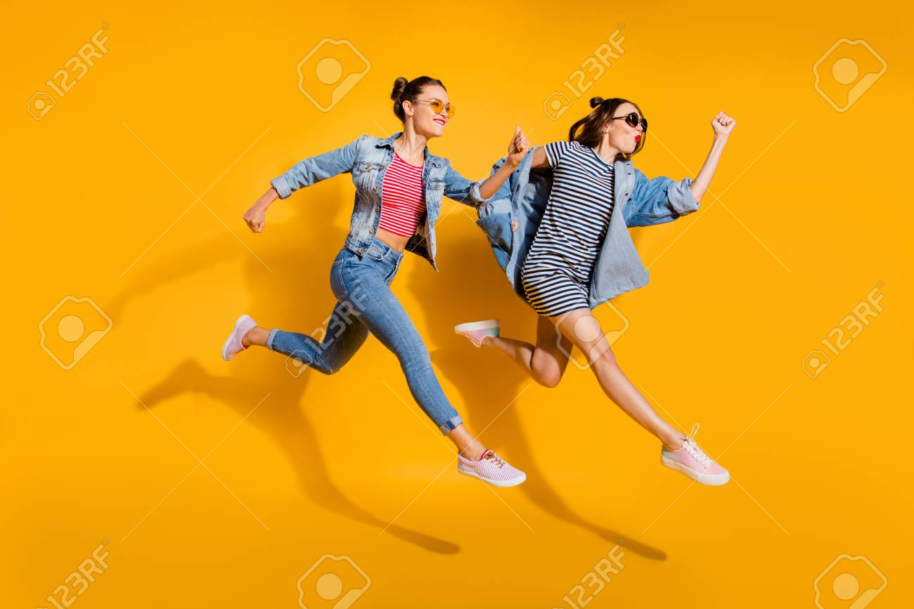 Full legs length body size portrait of two beautiful attractive - 113111844
