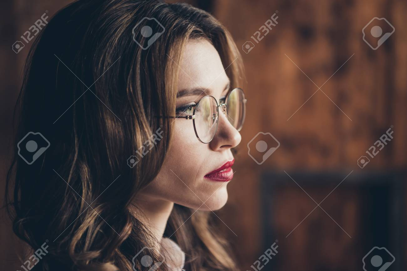 Close Up Profile Side View Portrait Of Nice Attractive Lovely Stock Photo Picture And Royalty Free Image Image 115689282