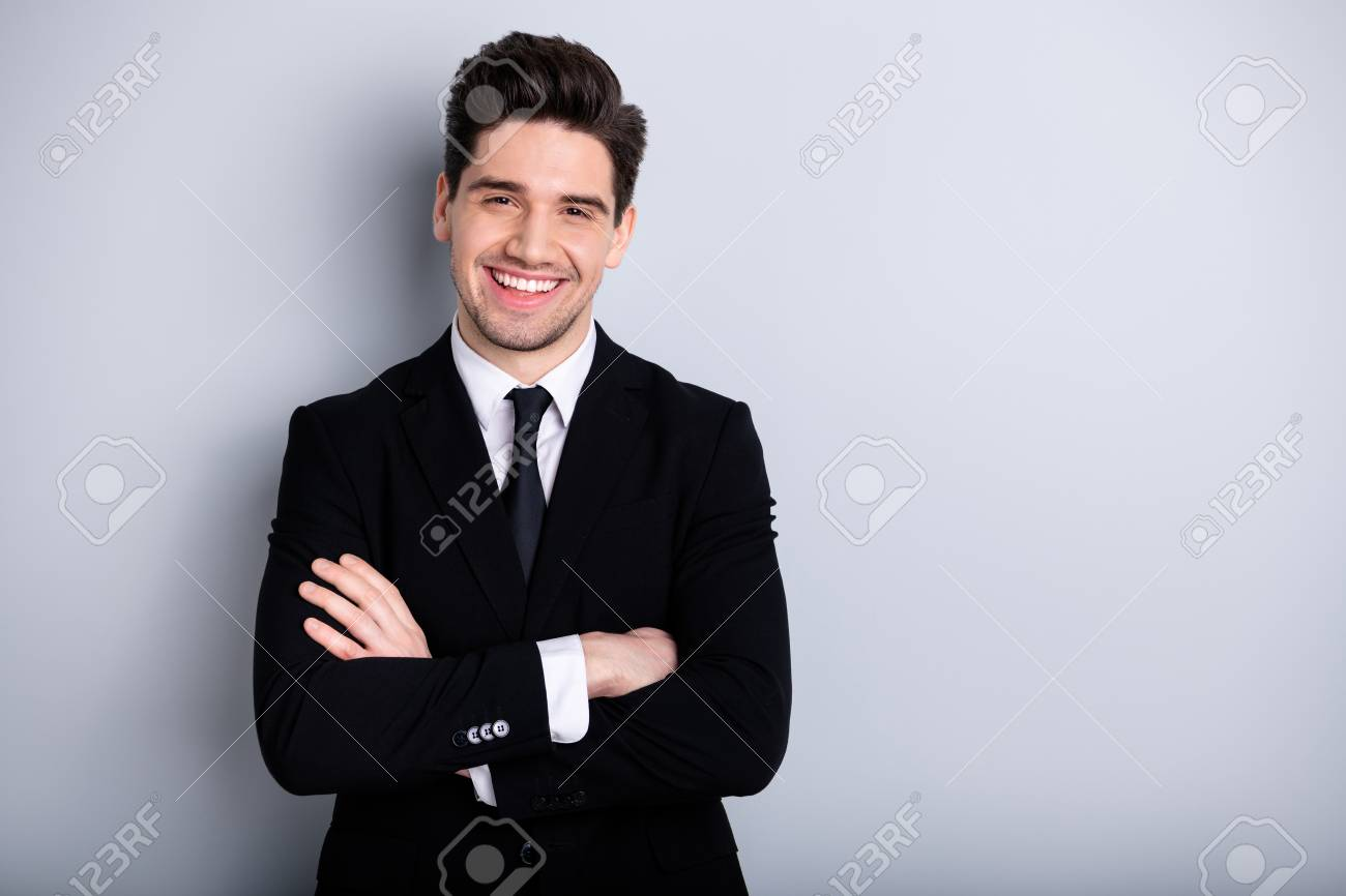 Portrait of handsome relaxed representative feel glad enjoy have fun career concept content dream dreamy independent freelancer wear classic outfit isolated on ashy-gray background - 122699351
