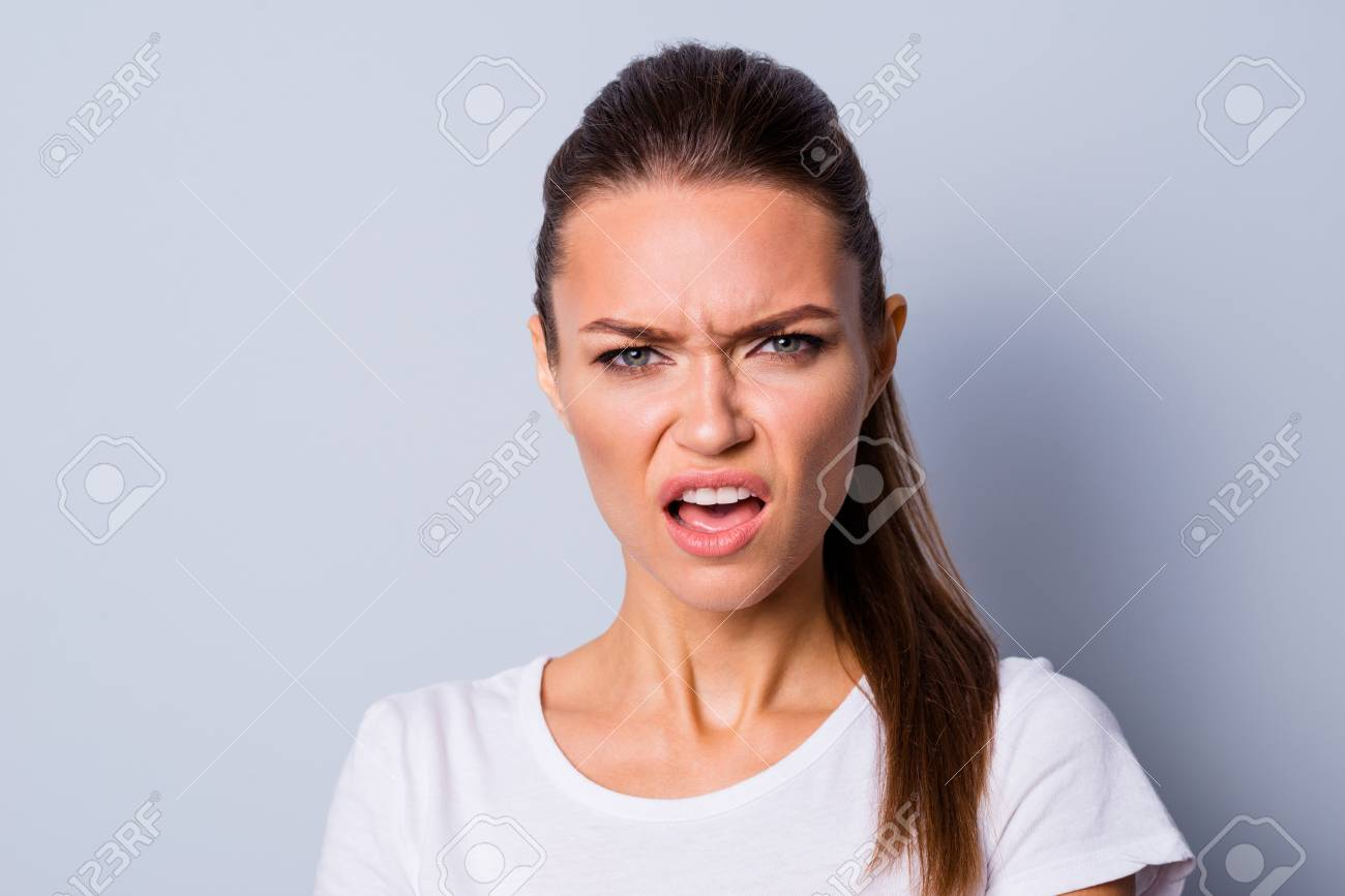 Close up photo amazing beautiful she her lady not fear situation epic fail bad mood grimacing deny fault guilty sorry stress wear casual white t-shirt clothes isolated grey background - 123223655