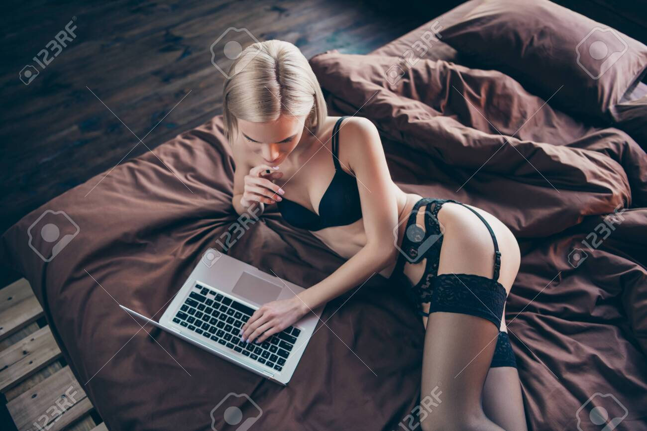 Top above high angle view of her she nice-looking graceful curvy luxury stunning gorgeous attractive feminine lovely lady lying on bed chatting with boyfriend on sheets linen - 126320076