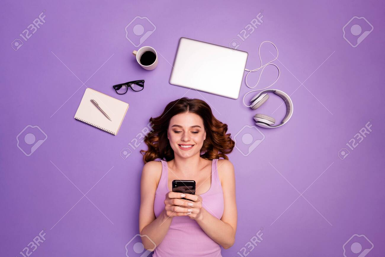 Portrait charming lady hold hand modern technology cheerful break pause read, information stylish trendy news notebook computer laptop headphones coffee cup isolated violet purple background - 147098674