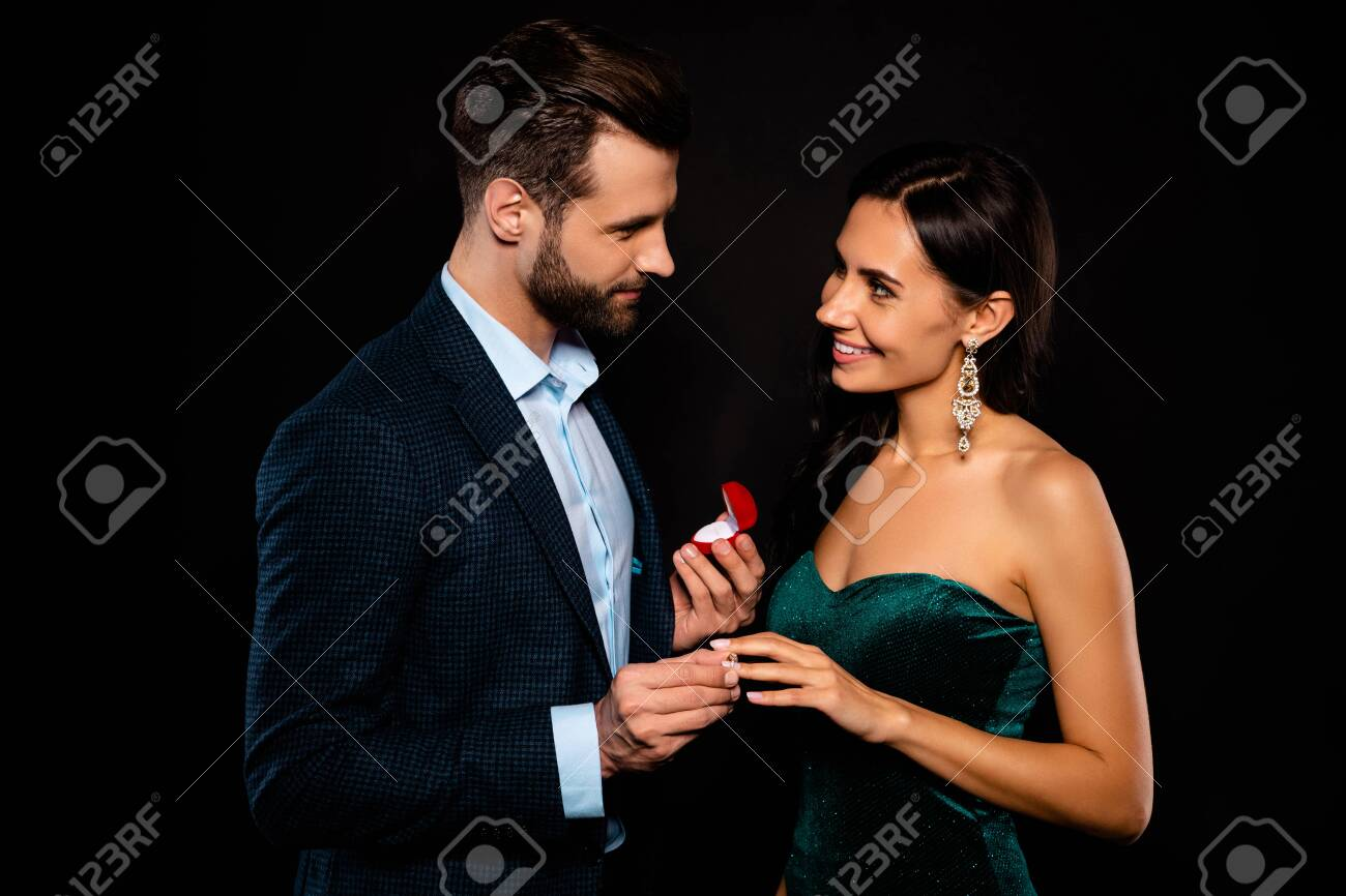 Portrait of his he her she nice-looking chic gorgeous adorable perfect attractive luxury cheerful two person soul mate get receive propose best event dream isolated over black background - 126778818
