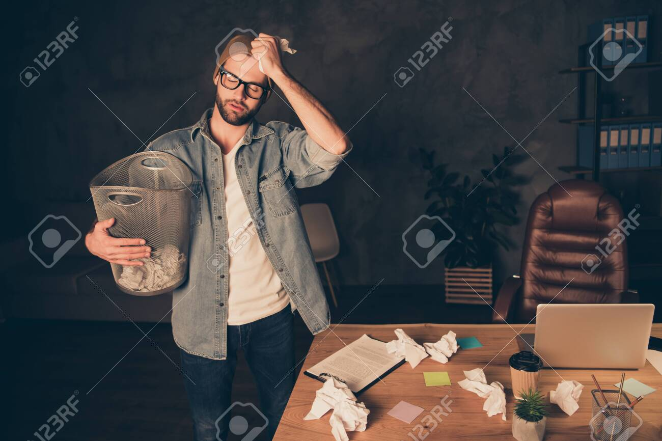 Photo of casual freelance business man wearing brown cap hat and jeans denim clothes who has always dreamed of creating his own business but now has problems with starting - 128449903