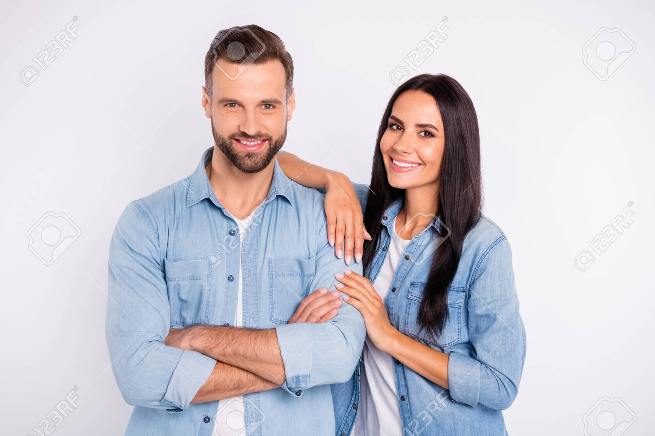 Portrait of his he her she nice-looking shine attractive lovely tender cheerful cheery content glad persons soulmate spending time date isolated over light white pastel background - 129151095