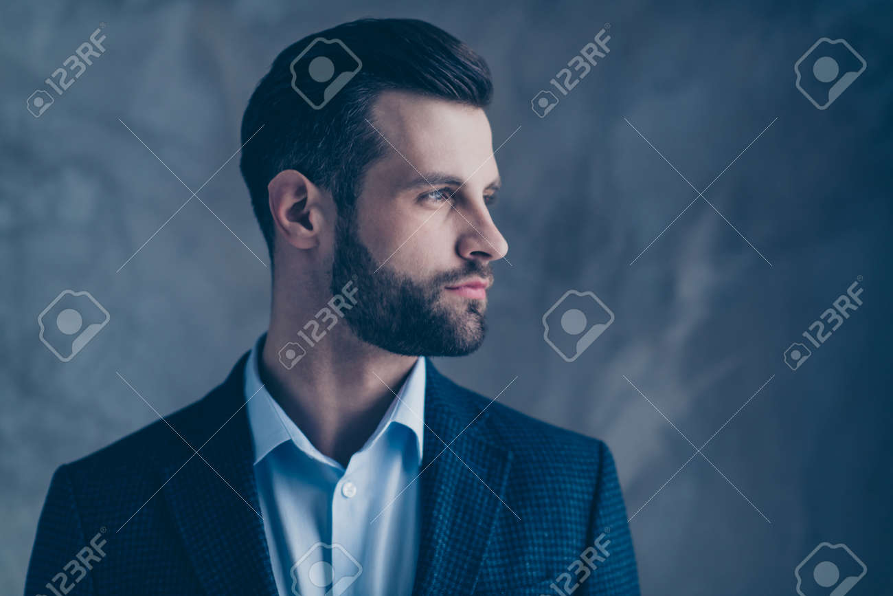 Profile side photo of minded classy, person good-looking wearing stylish blazer jacket formal wear isolated over grey background - 129623945