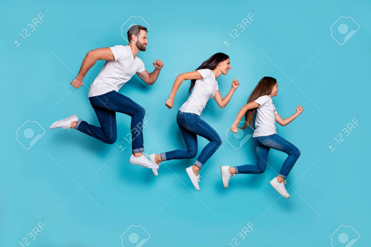 Full length body size photo of running sporty family being healthy and beautiful while isolated with blue background - 130022130