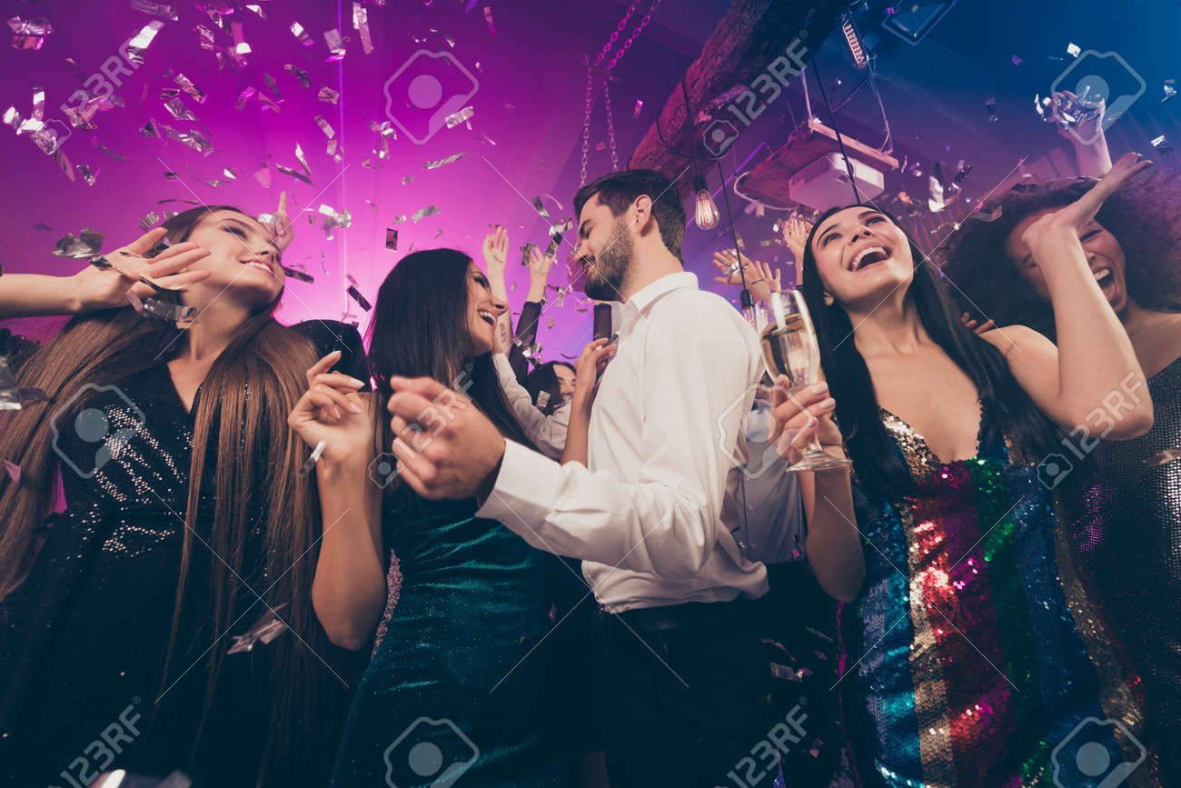 Photo of people group dance rejoice guy flirt with lady wear trendy stylish outfit modern club indoors - 159192419