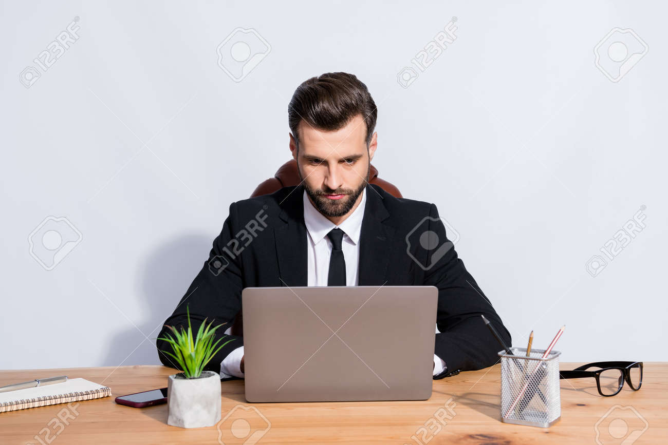 Photo of handsome boss business guy look notebook table writing colleagues seriously reliable person corporate chatting wear black blazer shirt suit sit chair isolated grey background - 159503681