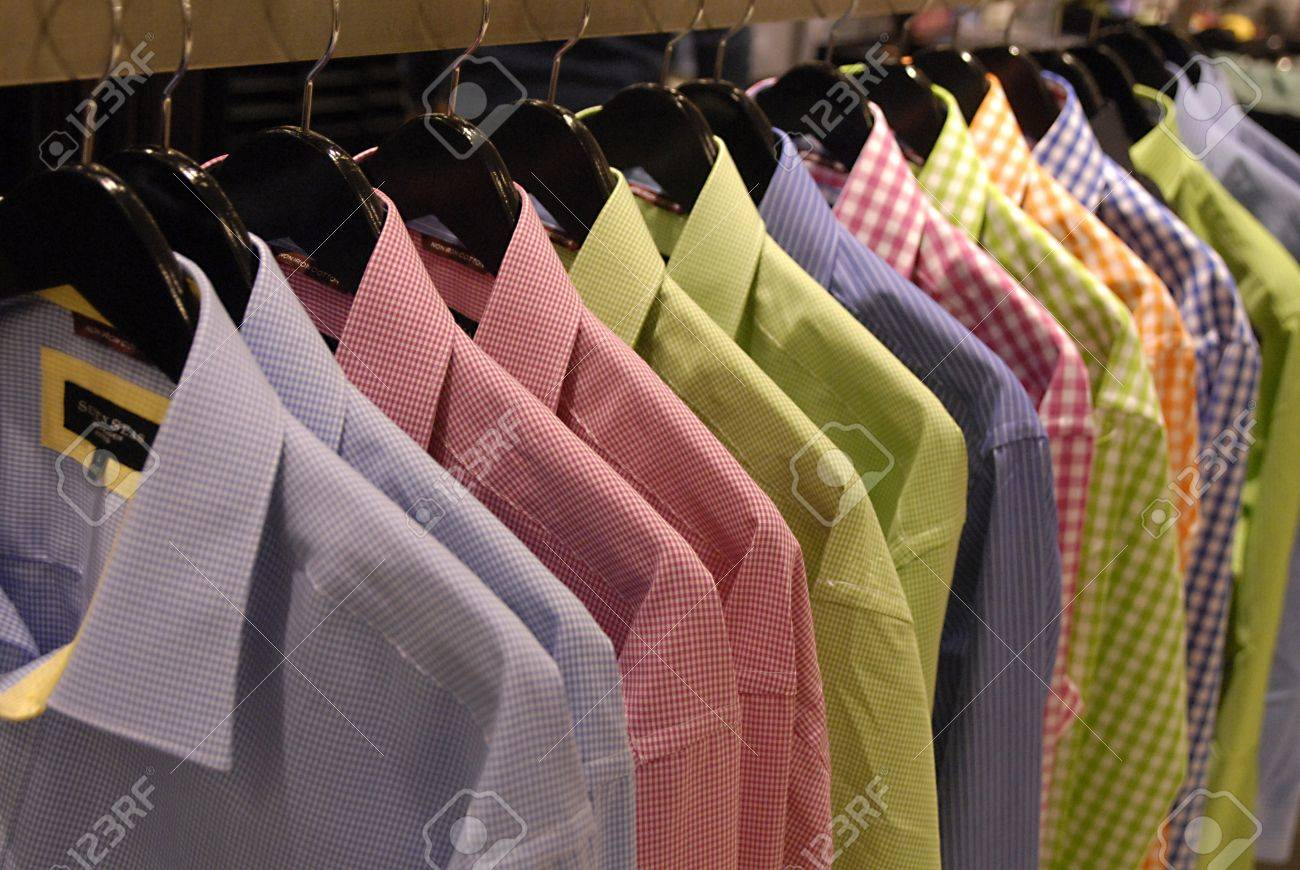 DENMARK / COPENHAGEN .Various  colour  shirts on sale in Illum department store 17 Feb. 2011     Stock Photo - 8822131
