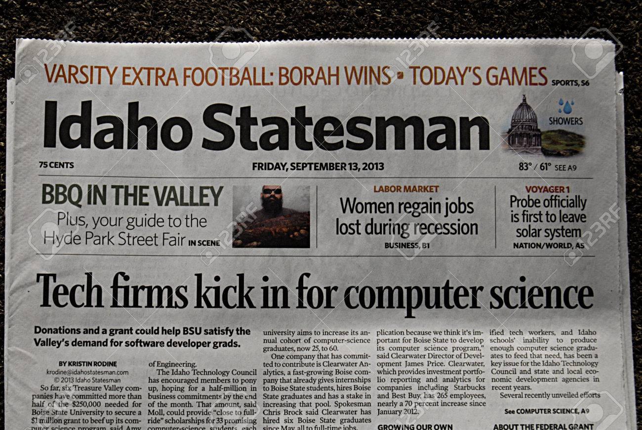 Idaho statesman newspaper online - Idaho Statesman News Lewiston Idaho State Usa _26 Sept 2013 Idaho State Dailies And Weekly