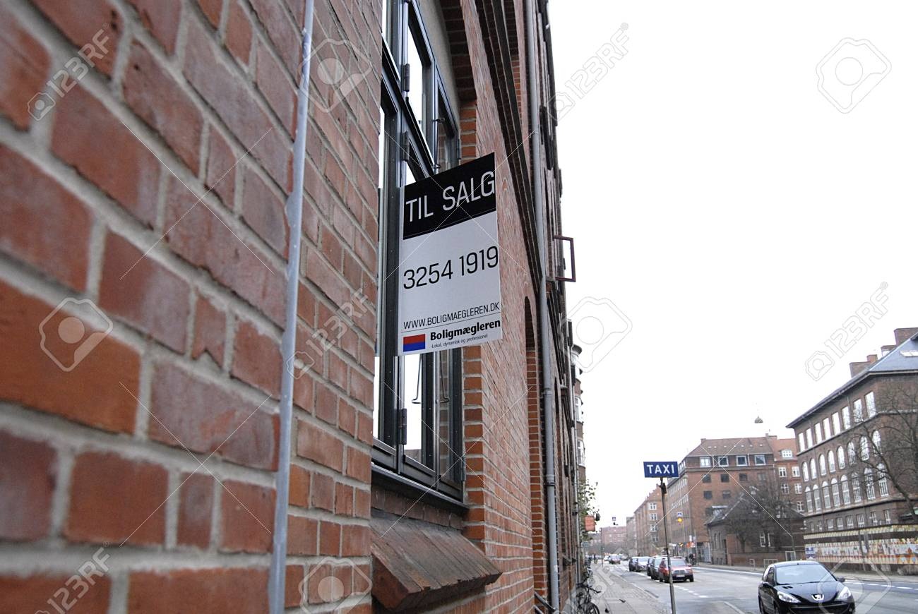 Copenhagen /Denmark-  19 November  2013    _Home sale sign in window         Stock Photo - 23817738