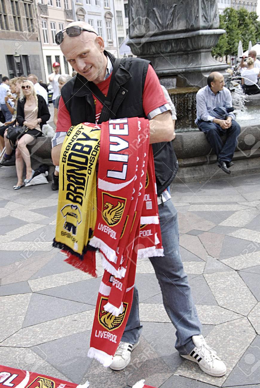 copenhagen denmark english man selling liverpool fans accessories