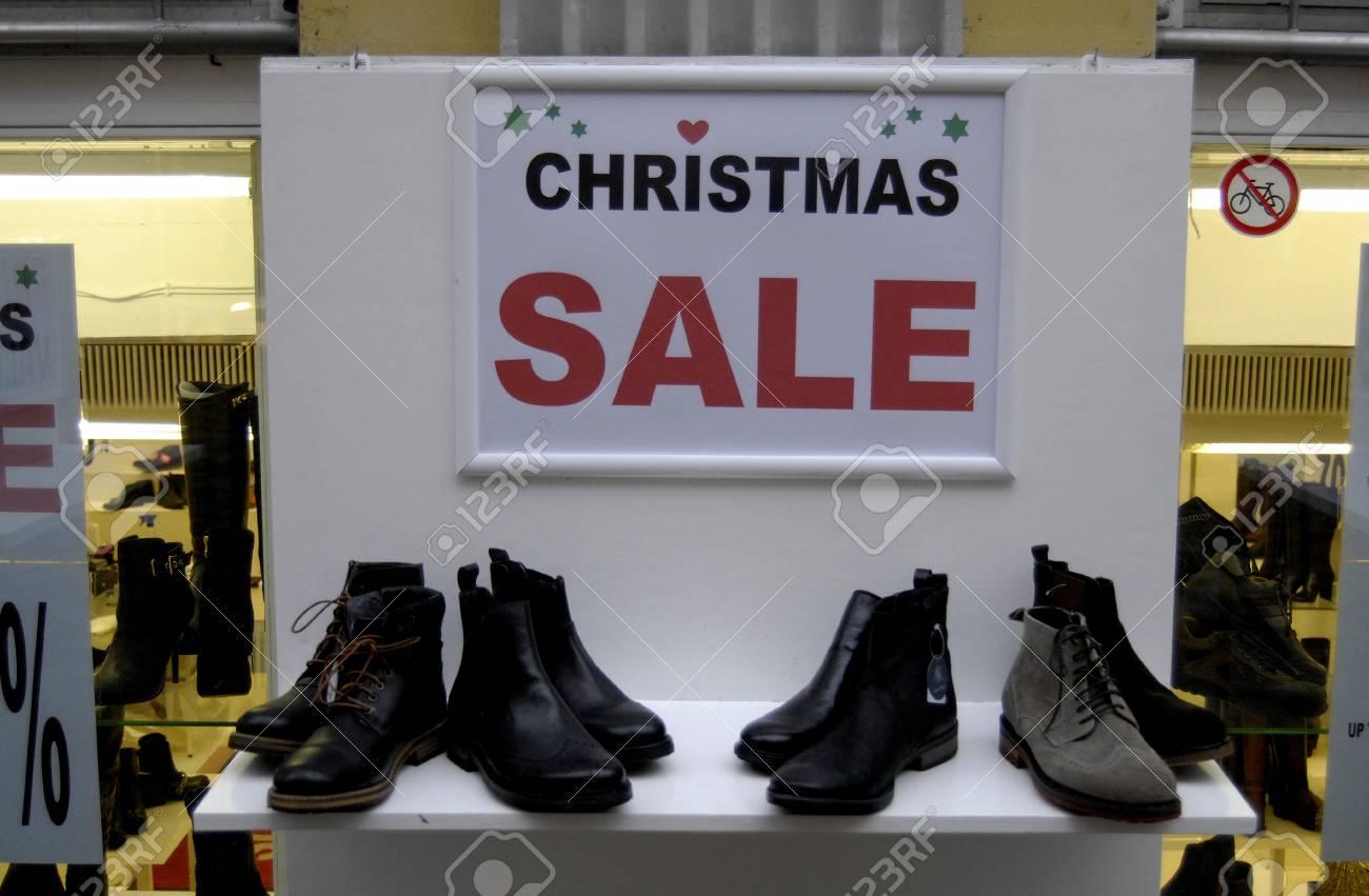 9bb68218290 COPENHAGEN/DENMARK_ 70 percent christmas sale at shoe shop on kobmagergade  today 05 December 2014