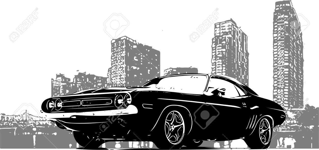 old racing car with grunge city background - 110703101