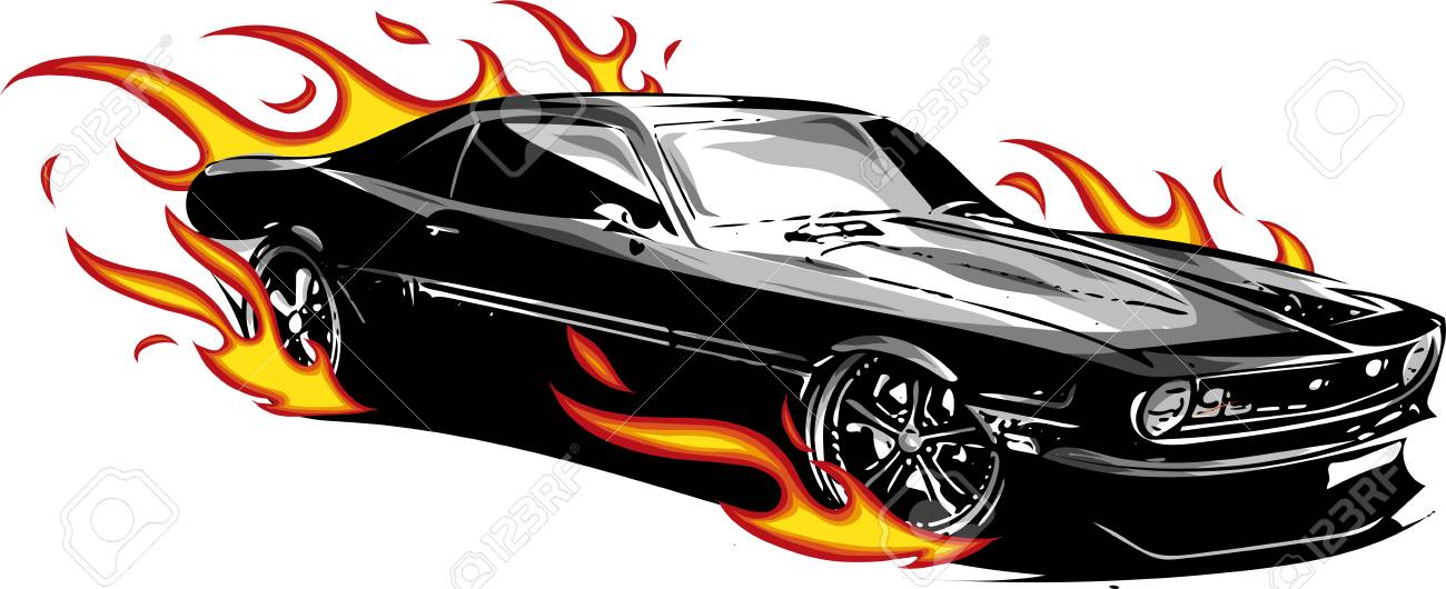Vector Muscle Car With Flames Crazy Race Stock Photo Picture And