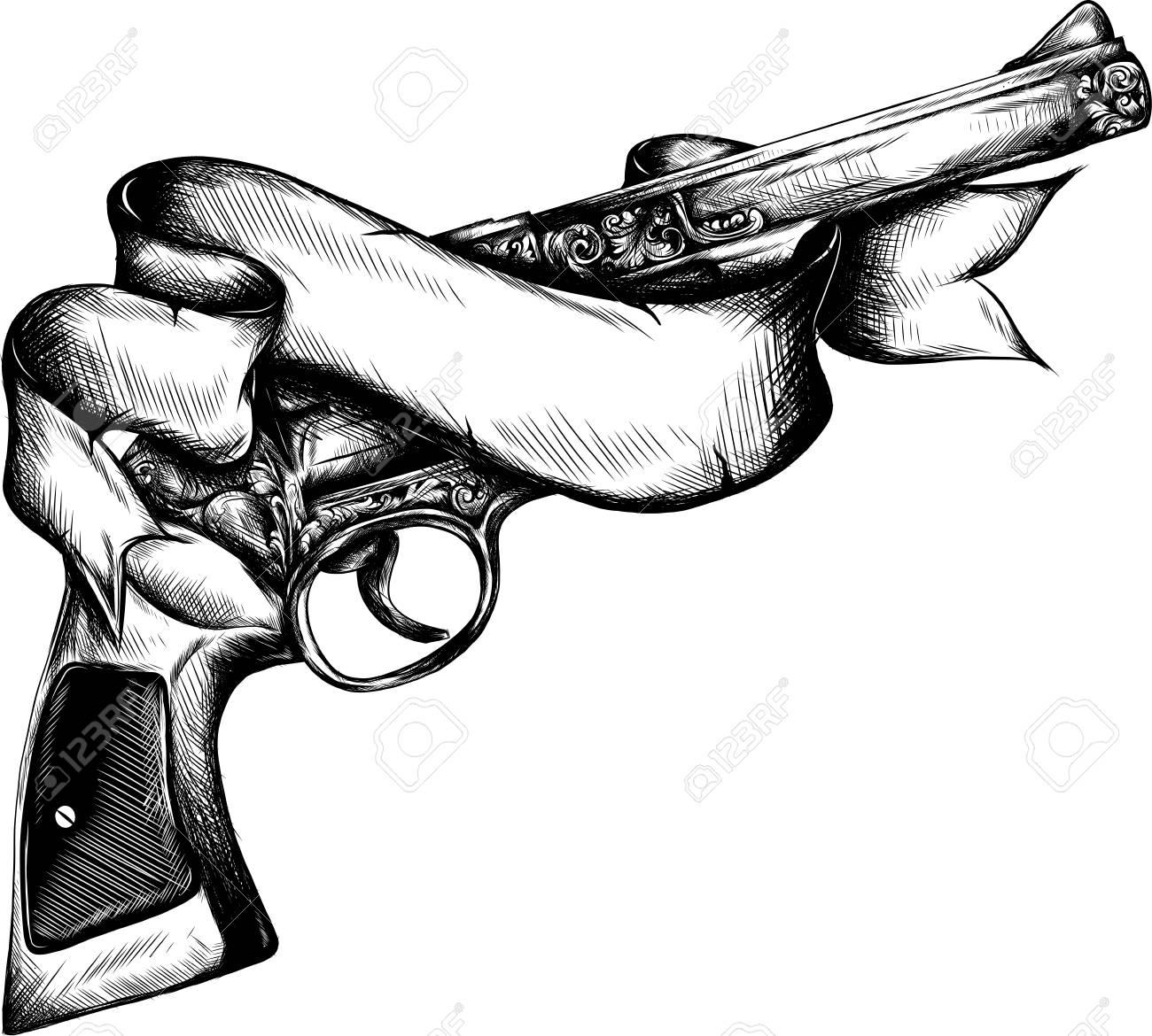 Pistol Barrel Drawing Tattoo Art