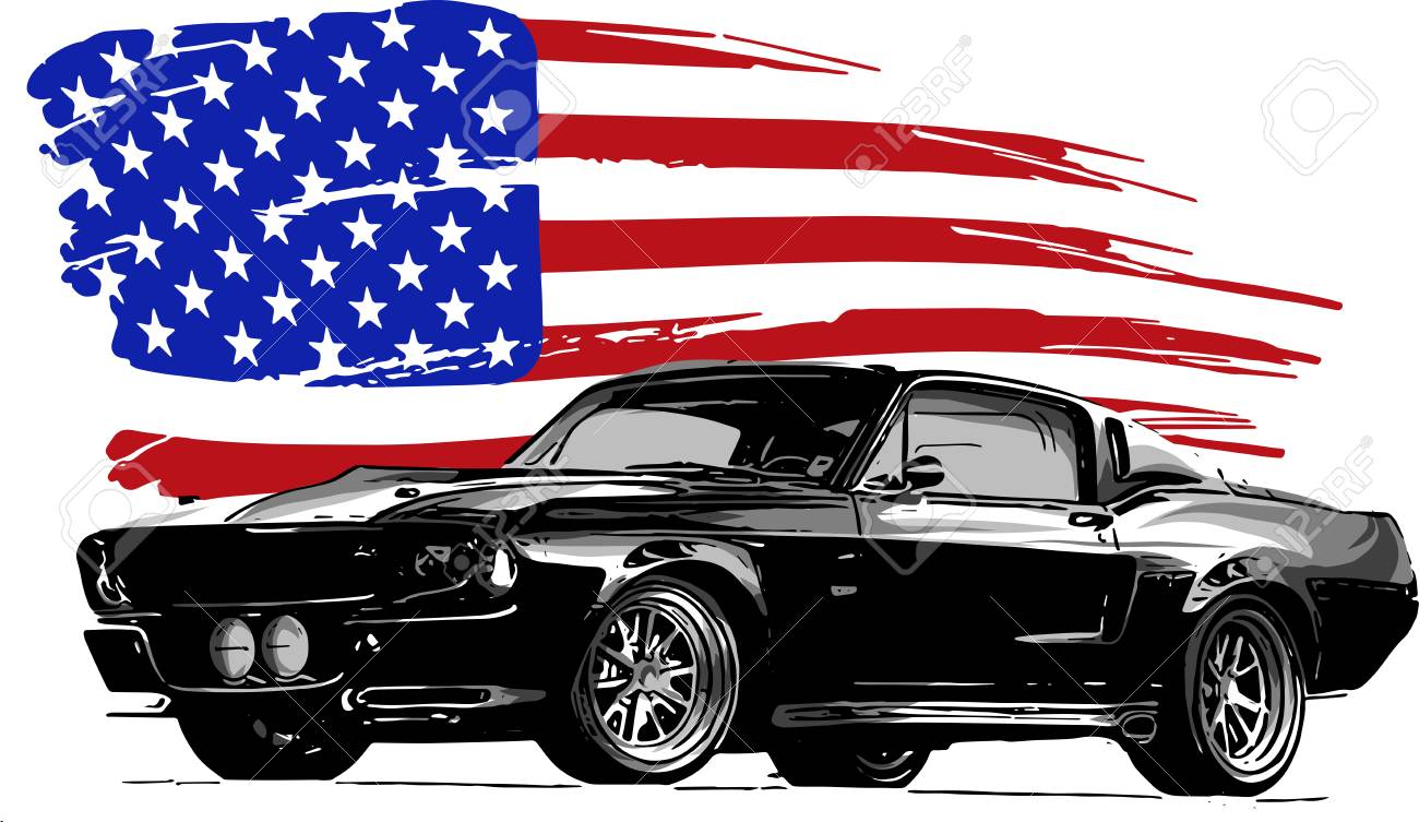 vector graphic design illustration of an american muscle car stock